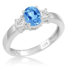 1.40 CTW Swiss Blue and White Topaz Ring in .925 Sterling Silver #96485v2