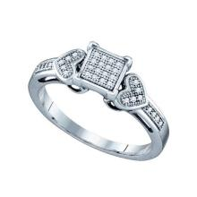 925 Sterling Silver White 0.10CTW DIAMOND MICRO PAVE RING #59128v2