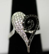 .925 STERLING SILVER HEART RING W/ CLEAR CZ AND BLACK C #68486v1