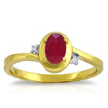14K Solid Gold Preachings Of Love Ruby Diamond Ring #20410v0