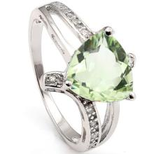 GENUINE 2.30 CTW GREEN AMETHYST AND CZ PLATINUM PLATED  #42678v2