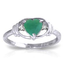 14K White Gold Soul Force Emerald Diamond Ring #11122v0