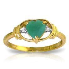 14K Solid Gold Evocative Memories Emerald Diamond Ring #18092v0