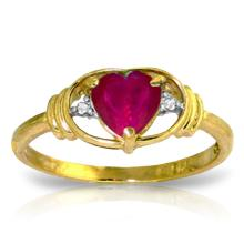 14K Solid Gold Woman Of Substance Ruby Diamond Ring #20497v0