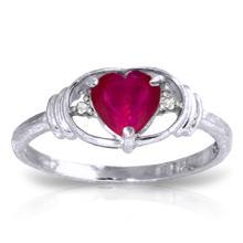 14K White Gold Unnecessary Battle Ruby Diamond Ring #20498v0