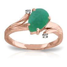 14K Rose Gold Ring with Diamonds & Emerald #13549v0