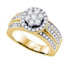 14K Yellow-gold 1.26CT DIAMOND FLOWER RING #58712v2
