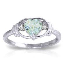 14K White Gold Surrendering Aquamarine Diamond Ring #14536v0