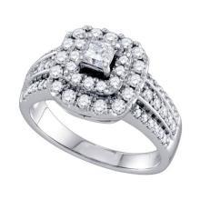 14KT White Gold 1.0CTW DIAMOND 0.25CT CENTER PRINCESS BRIDAL RING #58684v2