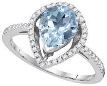 14KT White Gold 0.24CTW-Diamond 1.20(MIN)CT AQUA RING #79343v2