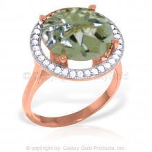 14K Rose Gold RING WITH DIAMONDS & GREEN AMETHYST #18192v0