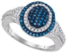 10KT White Gold 0.50CTW BLUE DIAMOND FASHION RING #68122v2