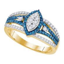 10K Yellow-gold 0.85CT BLUE DIAMOND FASHION RING #66066v2