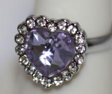 LAVANDER AND CLEAR CZ HEART SHAPED .925 STERLING SILVER #42276v1