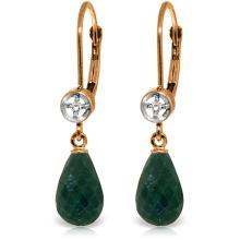 14K Rose Gold Femme Green Sapphire Corundum Diamond Earrings #12651v0