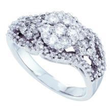 14KT White Gold 1.00CTW ROUND DIAMOND LADIES FASHION FLOWER BRIDAL RING #56685v2