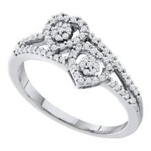 10KT White Gold 0.25CT DIAMOND HEART RING #60951v2