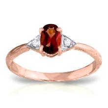 14k Rose Gold Oval Garnet Diamond Ring #15607v0