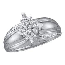925 Sterling Silver White 0.15CTW DIAMOND CLUSTER RING #56726v2