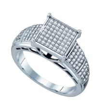 925 Sterling Silver White 0.33CT DIAMOND MICRO PAVE RING #61073v2