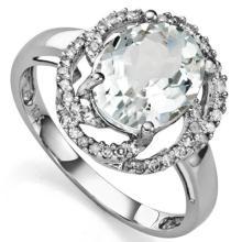 GENUINE 2.25 CTW AQUAMARINE AND 0.01 CTW DIAMOND PLATIN #42717v2