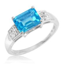 Sterling Silver 2.00 CTW Swiss Blue Topaz and Diamond Ring #96481v2