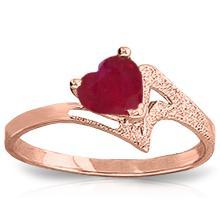 14K Rose Gold Loveheart Ruby Ring #12174v0