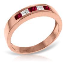 14K Rose Gold Rings with Ruby & White Topaz #21519v0
