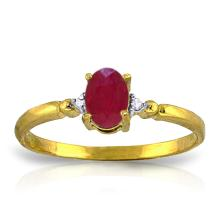 14K Solid Gold Ring with Diamonds & Ruby #18796v0