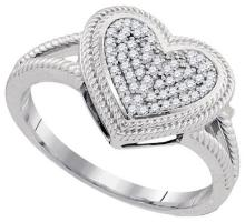 10KT White Gold 0.15CTW DIAMOND MICRO-PAVE HEART RING #62372v2