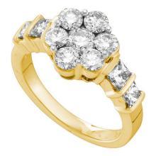 14KT Yellow Gold 2.06CTW DIAMOND FLOWER RING #57559v2