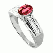 GENUINE 1.00 CTW HEAT TREATED PINK TOURMALINE AND DIAMOND RING IN SOLID 18K WHITE GOLD COLOR G-H CLARITY VS1-SI1 #50084v2