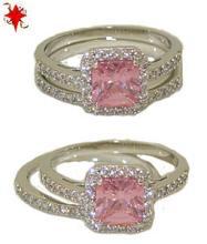 Two Pcs Wedding Engagement Ring in Rhodium & Pink Diamond #90296v2