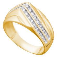 10K Yellow-gold 0.25CT DIAMOND CLUSTER MENS RING #64240v2
