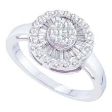 14KT White Gold 0.69CTW DIAMOND FLOWER RING #51110v2