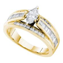 14KT Yellow Gold 1.00CT DIAMOND 0.35CT MARQUISE CENTER BRIDAL RING #60423v2