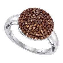 10KT White Gold 0.60CTW COGNAC DIAMOND FASHION RING #54233v2