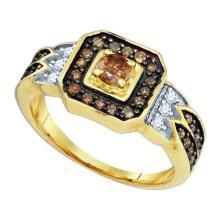 10KT Yellow Gold 0.68CT DIAMOND 0.25CT CRD BRIDAL RING #50696v2