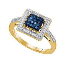 10K Yellow-gold 0.25CT BLUE DIAMOND FASHION RING #62783v2