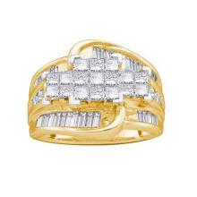 14KT Yellow Gold 2.00CTW ROUND BAGGUETTE PRINCESS DIAMOND LADIES INVISIBLE RING #60789v2