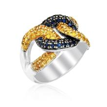 Sterling Silver Knot Style Ring with Blue and Yellow Sapphires #93732v2