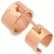 Rose Gold Plated Stainless Steel Double Rings 18 Karat Gold #90184v2