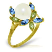 14K Solid Gold Ring W/ Peridots, Blue Topaz & Pearl #16323v0