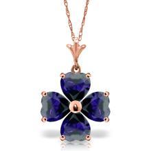 14K Rose Gold Heart Cluster Sapphire Necklace #14994v0