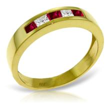 14K Solid Gold Rings with Ruby & White Topaz #13567v0