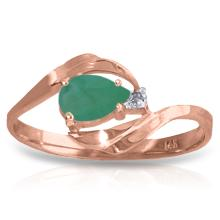 14K Rose Gold Ring with Diamond & Emerald #14530v0