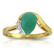 14K Solid Gold You're Still Standing Emerald Diamond Ring #20455v0