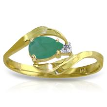 14K Solid Gold Ring with Diamond & Emerald #14529v0