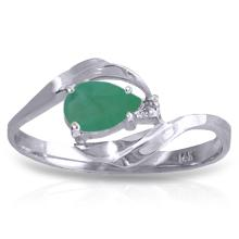 14K White Gold Ring with Diamond & Emerald #17506v0