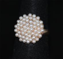 SYNTETIC PEARL ANTIQUE ADJUSTIBLE RING #41726v1